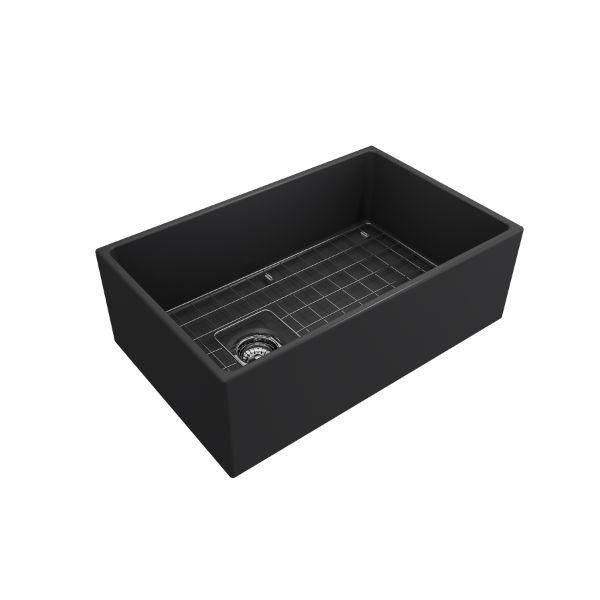 Bocchi Contempo 30 Dark Gray Fireclay Single Bowl Farmhouse Sink w/ Grid-Annie & Oak
