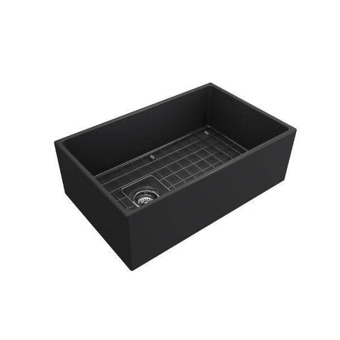 Image of Bocchi Contempo 30 Dark Gray Fireclay Single Bowl Farmhouse Sink w/ Grid - Annie & Oak