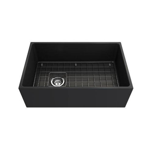 Image of Bocchi Contempo 30 Dark Gray Fireclay Single Bowl Farmhouse Sink w/ Grid-Annie & Oak