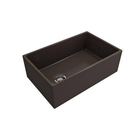Image of Bocchi Contempo 30 Brown Fireclay Single Bowl Farmhouse Sink w/ Grid - Annie & Oak