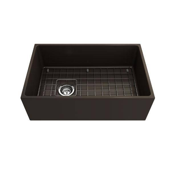 Bocchi Contempo 30 Brown Fireclay Single Bowl Farmhouse Sink w/ Grid - Annie & Oak