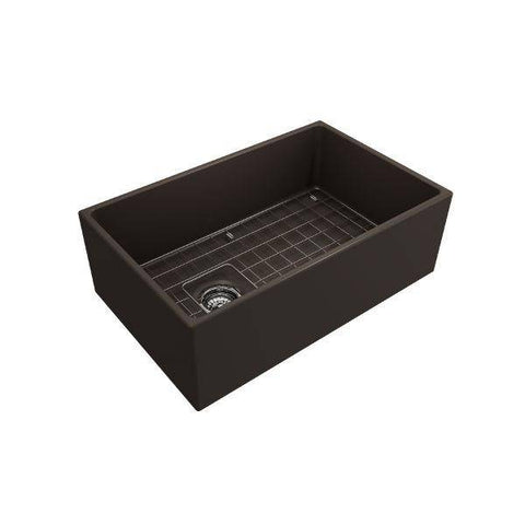 Bocchi Contempo 30 Brown Fireclay Single Bowl Farmhouse Sink w/ Grid-Annie & Oak