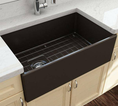 Image of Bocchi Contempo 30 Brown Fireclay Single Bowl Farmhouse Sink w/ Grid-Annie & Oak