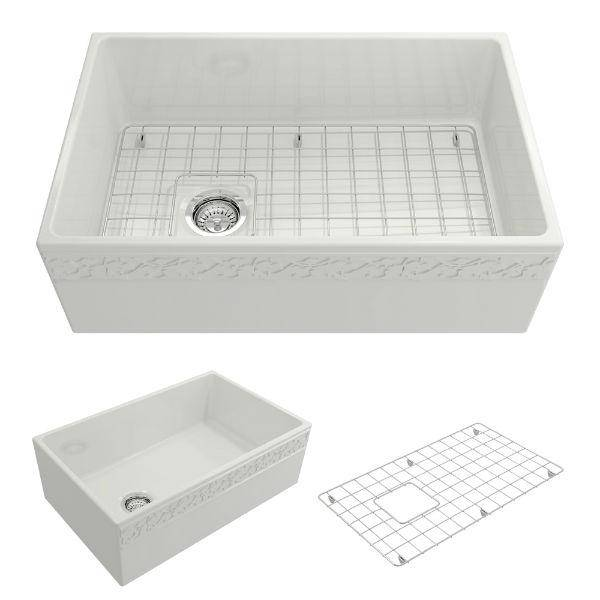 "Bocchi Vigneto 30"" White Fireclay Single Bowl  Farmhouse Sink W/ Grid - Annie & Oak"