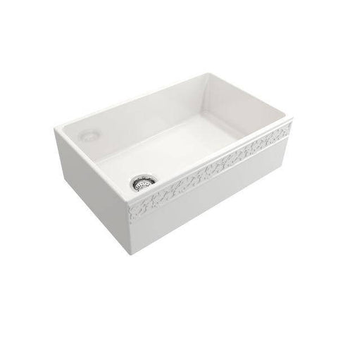 "Image of Bocchi Vigneto 30"" White Fireclay Single Bowl  Farmhouse Sink W/ Grid - Annie & Oak"