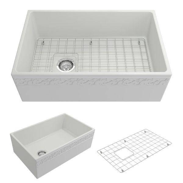 "Bocchi Vigneto 30"" Matte White Fireclay Single Bowl  Farmhouse Sink W/ Grid - Annie & Oak"
