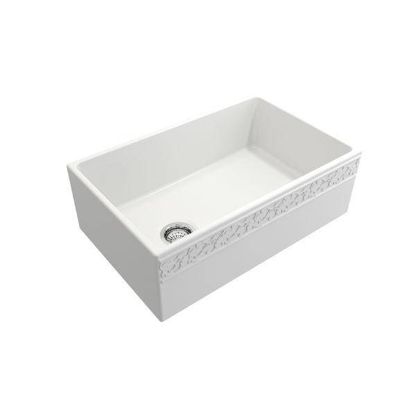 "Bocchi Vigneto 30"" Matte White Fireclay Single Bowl Farmhouse Sink W/ Grid-Annie & Oak"