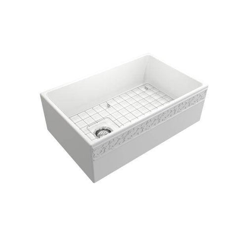 "Image of Bocchi Vigneto 30"" Matte White Fireclay Single Bowl  Farmhouse Sink W/ Grid - Annie & Oak"