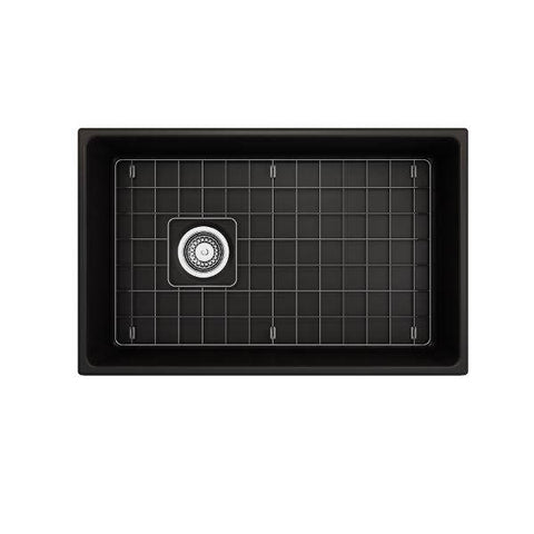 "Image of Bocchi Vigneto 30"" Matte Black Fireclay Single Bowl Farmhouse Sink W/ Grid-Annie & Oak"