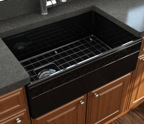 "Image of Bocchi Vigneto 30"" Black Fireclay Single Bowl Farmhouse Sink W/ Grid-Annie & Oak"