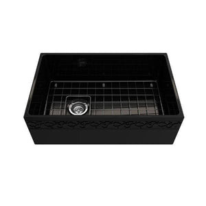 "Bocchi Vigneto 30"" Black Fireclay Single Bowl Farmhouse Sink W/ Grid-Annie & Oak"