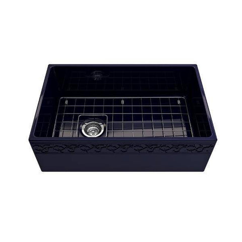 "Image of Bocchi Vigneto 30"" Blue Fireclay Single Bowl Farmhouse Sink W/ Grid-Annie & Oak"
