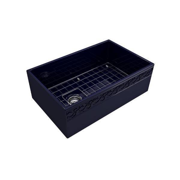 "Bocchi Vigneto 30"" Blue Fireclay Single Bowl  Farmhouse Sink W/ Grid - Annie & Oak"