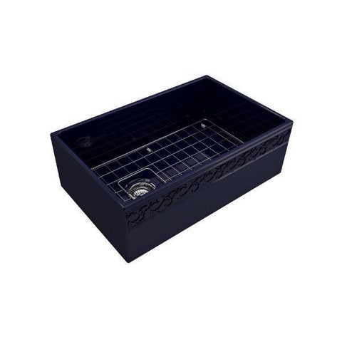 "Bocchi Vigneto 30"" Blue Fireclay Single Bowl Farmhouse Sink W/ Grid-Annie & Oak"