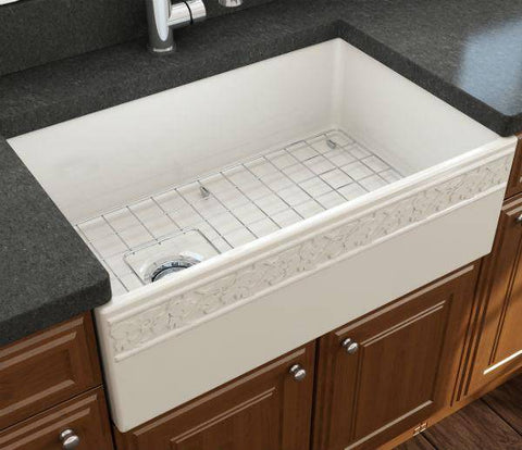 "Image of Bocchi Vigneto 30"" Biscuit Fireclay Single Bowl Farmhouse Sink W/ Grid-Annie & Oak"