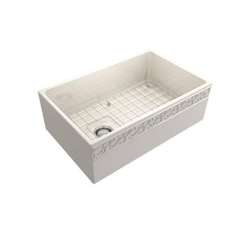 "Bocchi Vigneto 30"" Biscuit Fireclay Single Bowl Farmhouse Sink W/ Grid-Annie & Oak"