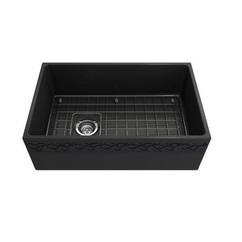 "Bocchi Vigneto 30"" Dark Gray Fireclay Single Bowl Farmhouse Sink W/ Grid-Annie & Oak"