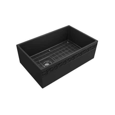 "Image of Bocchi Vigneto 30"" Dark Gray Fireclay Single Bowl Farmhouse Sink W/ Grid-Annie & Oak"