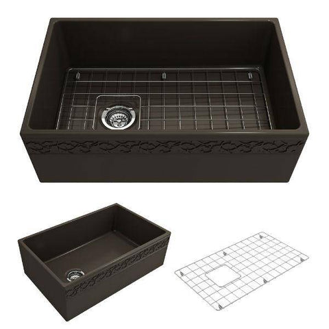 "Bocchi Vigneto 30"" Brown Fireclay Single Bowl Farmhouse Sink W/ Grid-Annie & Oak"
