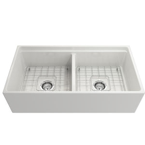 Bocchi Contempo 36D White Double Bowl Fireclay Farmhouse Sink w/ Step Rim - Annie & Oak