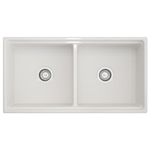 Image of Bocchi Contempo 36D White Double Bowl Fireclay Farmhouse Sink w/ Step Rim - Annie & Oak