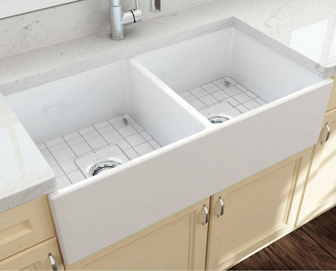 Image of Bocchi Contempo 36D White Fireclay Farmhouse Sink Double With Free Grid - Annie & Oak