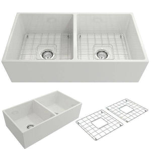 Bocchi Contempo 36D White Fireclay Farmhouse Sink Double With Free Grid