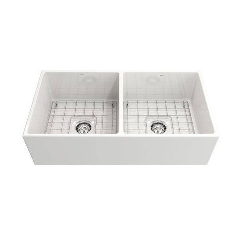 Bocchi Contempo 36D White Fireclay Farmhouse Sink Double With Free Grid - Annie & Oak