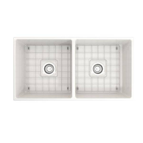 Bocchi Contempo 36D White Fireclay Farmhouse Sink Double With Free Grid-Annie & Oak