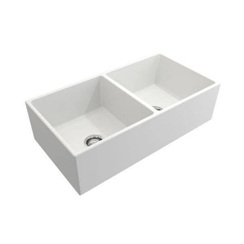 Image of Bocchi Contempo 36D Matte White Fireclay Double Farmhouse Sink With Free Grid-Annie & Oak