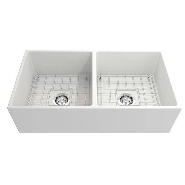 Bocchi Contempo 36D Matte White Fireclay Double Farmhouse Sink With Free Grid-Annie & Oak