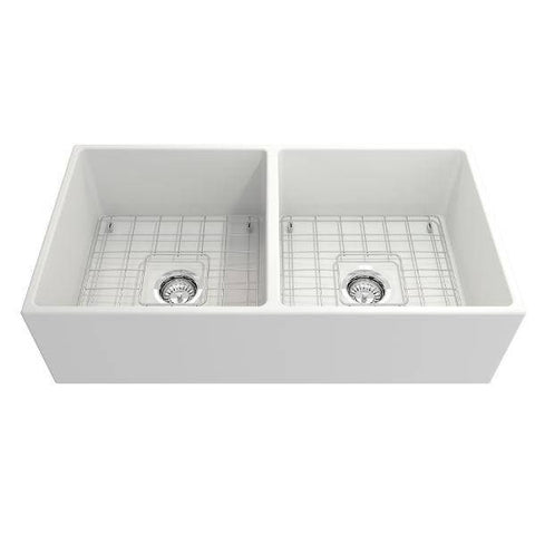 Image of Bocchi Contempo 36D Matte White Fireclay Double Farmhouse Sink With Free Grid - Annie & Oak