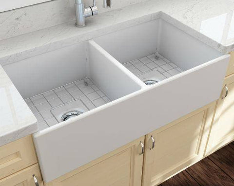 Bocchi Contempo 36D Matte White Fireclay Double Farmhouse Sink With Free Grid - Annie & Oak