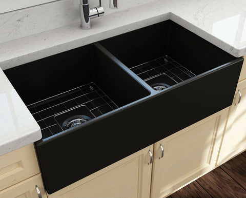 Bocchi Contempo 36D Matte Black Fireclay Double Farmhouse Sink With Free Grid-Annie & Oak