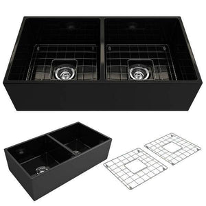 Bocchi Contempo 36D Matte Black Fireclay Double Farmhouse Sink With Free Grid