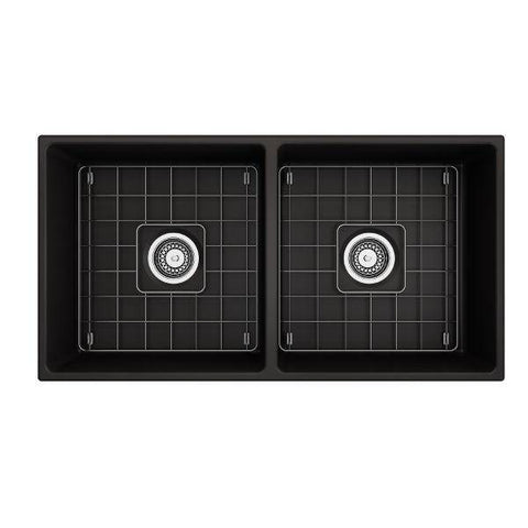 Image of Bocchi Contempo 36D Matte Black Fireclay Double Farmhouse Sink With Free Grid-Annie & Oak