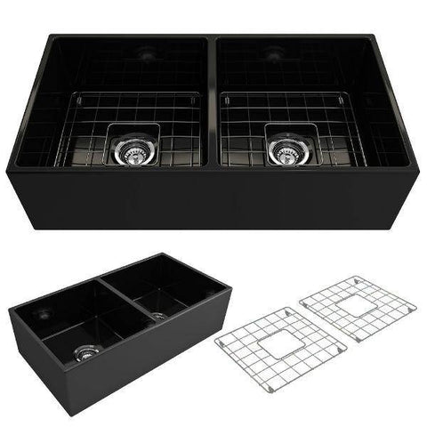 Bocchi Contempo 36D Matte Black Fireclay Double Farmhouse Sink With Free Grid - Annie & Oak