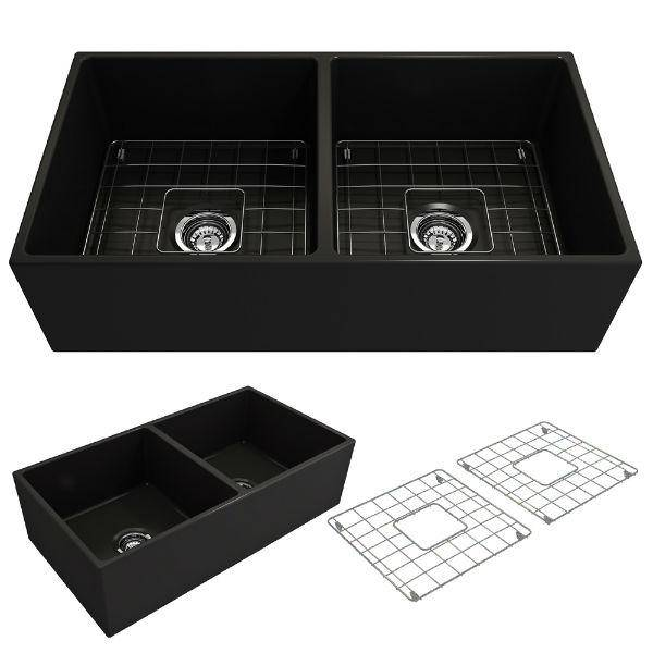 Bocchi Contempo 36D Black Fireclay Double Farmhouse Sink With Free Grid-Annie & Oak