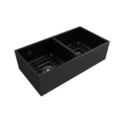 Image of Bocchi Contempo 36D Black Fireclay Double Farmhouse Sink With Free Grid - Annie & Oak