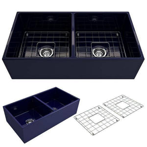 Bocchi Contempo 36D Blue Fireclay Double Farmhouse Sink With Free Grid