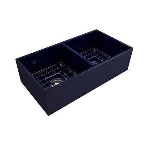 Bocchi Contempo 36D Blue Fireclay Double Farmhouse Sink With Free Grid-Annie & Oak