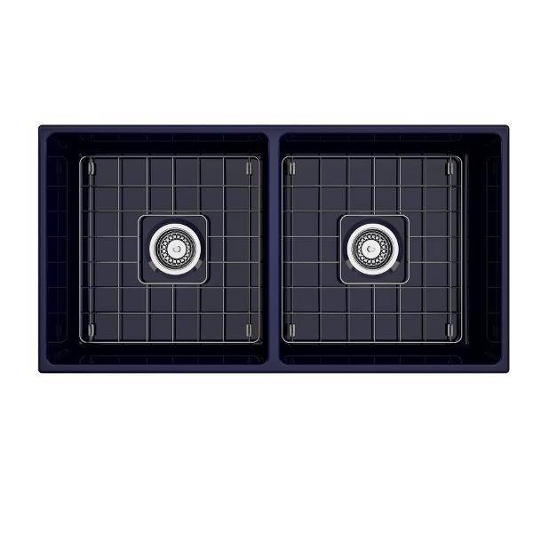 Bocchi Contempo 36D Blue Fireclay Double Farmhouse Sink With Free Grid - Annie & Oak