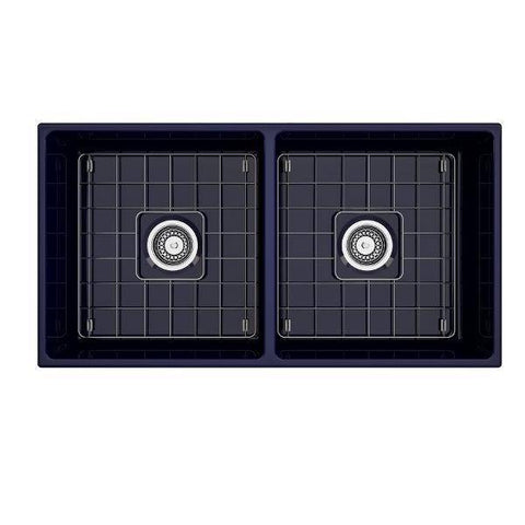 Image of Bocchi Contempo 36D Blue Fireclay Double Farmhouse Sink With Free Grid - Annie & Oak