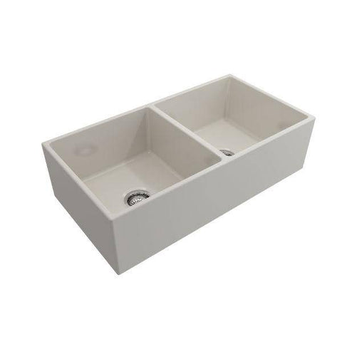 Bocchi Contempo 36D Biscuit Fireclay Double Farmhouse Sink With Free Grid - Annie & Oak