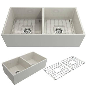 Bocchi Contempo 36D Biscuit Fireclay Double Farmhouse Sink With Free Grid