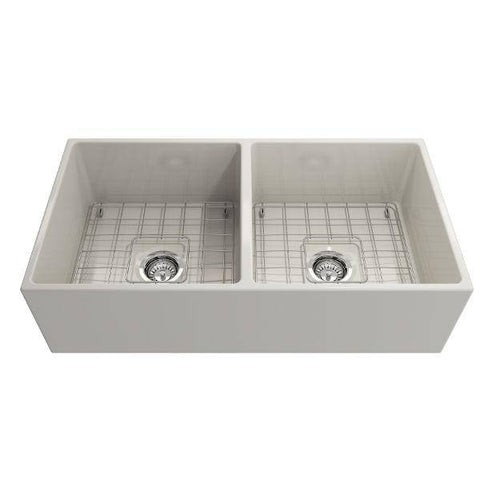 Bocchi Contempo 36D Biscuit Fireclay Double Farmhouse Sink With Free Grid-Annie & Oak