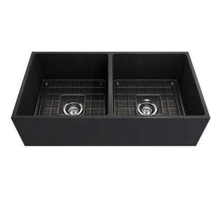 Bocchi Contempo 36D Dark Gray Fireclay Double Farmhouse Sink With Free Grid - Annie & Oak