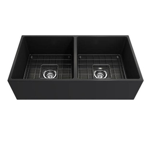 Bocchi Contempo 36D Dark Gray Fireclay Double Farmhouse Sink With Free Grid-Annie & Oak