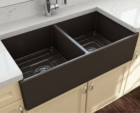 Bocchi Contempo 36D Brown Fireclay Double Farmhouse Sink With Free Grid - Annie & Oak