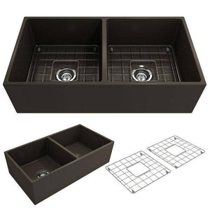 Bocchi Contempo 36D Brown Fireclay Double Farmhouse Sink With Free Grid